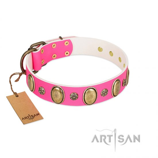 """Hotsie Totsie"" FDT Artisan Pink Leather Dog Collar with Ovals and Small Round Studs"