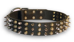 Trendy Leather Dog Collar with Handset Spikes and Cones
