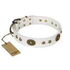 'Adorable Dream' FDT Artisan White Studded Leather Dog Collar - 1 1/2 inch (40 mm) wide