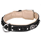 'Soft as Down' Royal Nappa Padded Hand Made Leather Dog Collar
