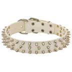 New Fashionable White Leather Dog Collar with Spikes