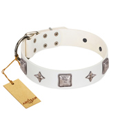 """Vanilla Ice"" FDT Artisan Handmade White Leather Dog Collar with Silver-like Adornments"