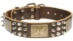 Excusive Spiked and Studded Leather Dog Collar with Massive Plates