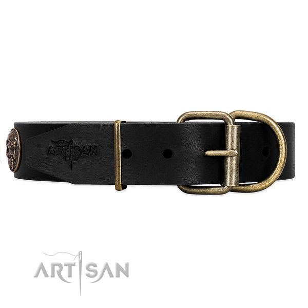 Strong Black Leather Dog Collar for Everyday Activity