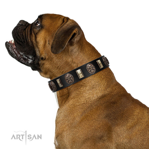 Top Quality Leather Boxer Collar with Skulls and Plates