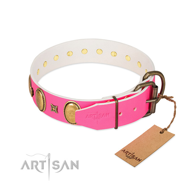 Royal look pink leather dog collar for daily outings