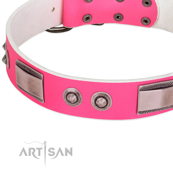 Elegant pink dog collar with large plates and spiked