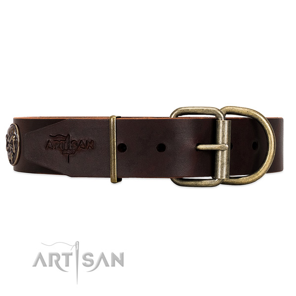 Adjustable Leather Dog Collar with Buckle and Massive D-ring