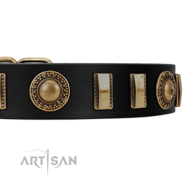 Black leather FDT Artisan collar with conchos and small