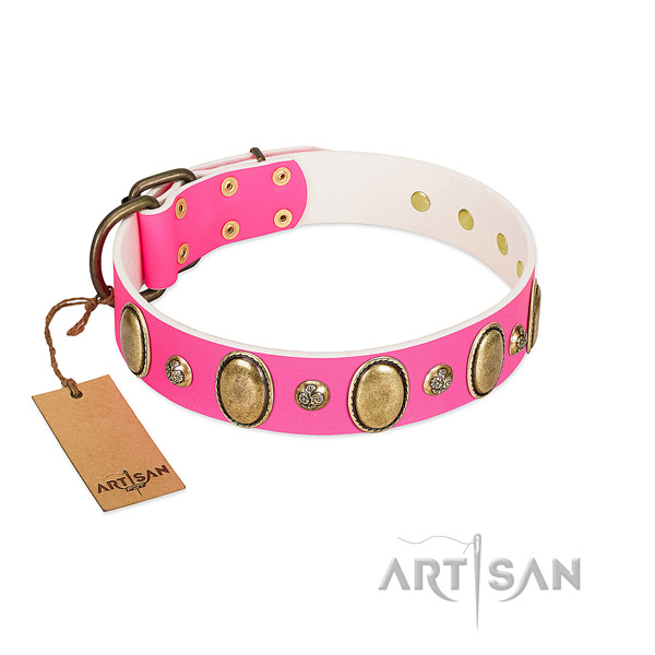Artisan leather dog collar easy to adjust