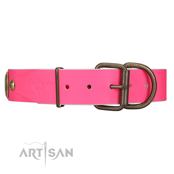 Pink dog collar with old bronze-like hardware