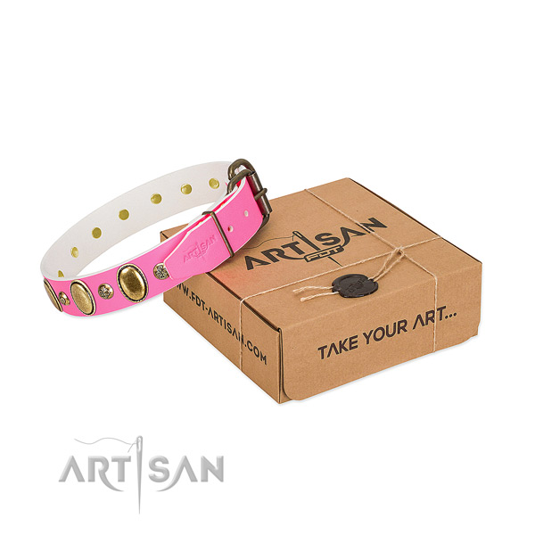 Exclusive leather dog collar for pink color lovers