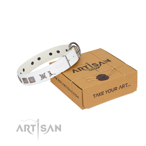 White leather dog collar for comfortable pastime