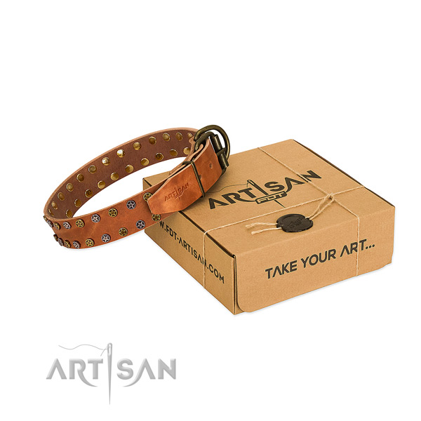 Tan Leather Dog Collar with Old Bronze-like Plated Stars