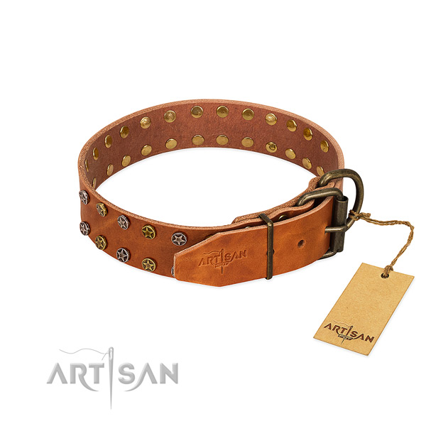 Tan Leather Dog Collar with Durable Buckle and D-Ring