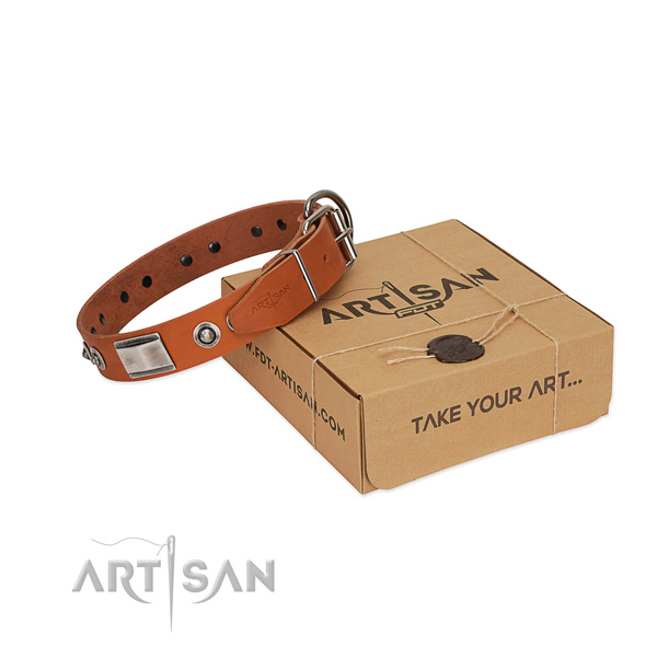 Dog Collar Made of Soft Genuine Leather