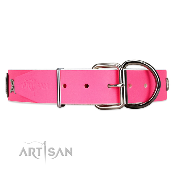 Trendy pink leather dog collar with chrome plated