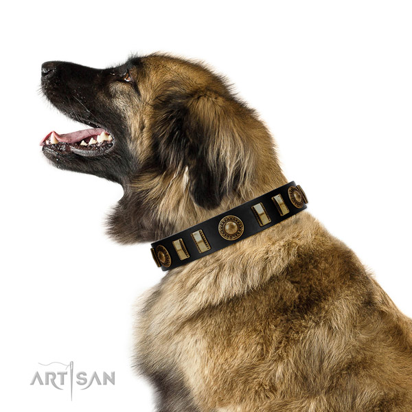 Dependable Leonberger Artisan leather collar of optimal