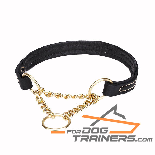 Padded with Nappa leather martingale black dog collar