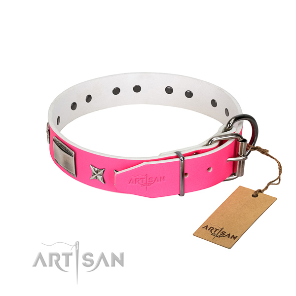 Adjustable leather dog collar with durable hardware