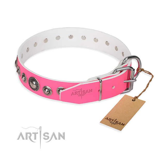 Pink leather dog collar with rust-proof buckle and D-ring