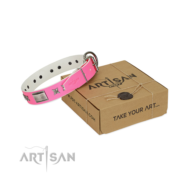First class quality pink leather dog collar