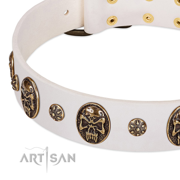 Old bronze-like studs and medallions on white leather FDT
