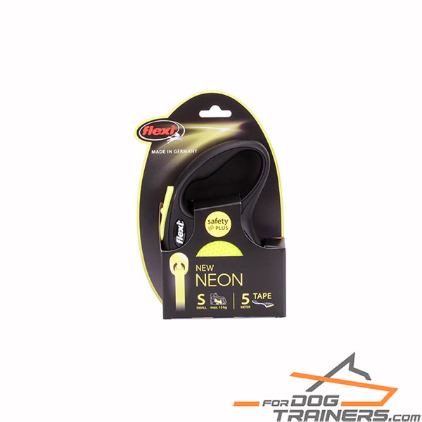 Retractable Leash with Neon Yellow Reflective Tape