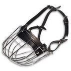 Humane Dog Muzzle with Adjustable Leather Straps for Breathing Freely and Panting